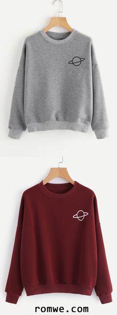Drop Shoulder Graphic Print Sweatshirt