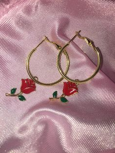 90's Babe Red Rose Faux Gold Mini Hoop Earrings