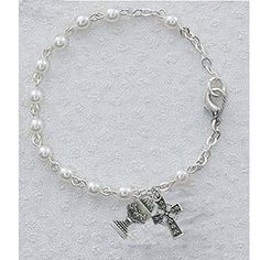 """Great for First Communion, 6.5"""" Rosary Girls Bracelet, 3mm Beads, Irish Theme, Sterling Silver Celtic Cross  Chalice Charms. * Read more reviews of the product by visiting the link on the image."""