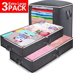 Under Bed Storage Containers with Stainless Steel Zipper Under-bed Underbed Storage Bags, Linen Storage, Cube Storage, Storage Baskets, Under Bed Storage Containers, Comforter Storage, Side Bed, Storage Bags For Clothes, Blanket Storage
