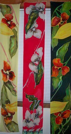 Hand Painted Silk Scarves by Kirkell Silk Studios
