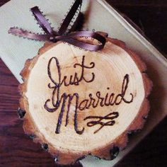 wood + wood burning tool - maybe wedding date ornaments for Christmas tree