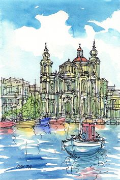 Malta  Parish Church Msida  art print from an original watercolor painting
