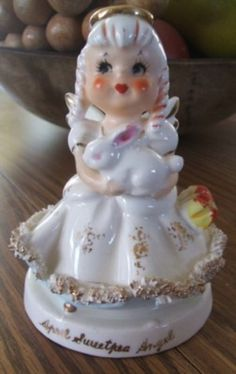 Vintage April Sweetpea ANGEL With EASTER BUNNY