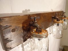 Handmade Faucet / Mason Jar Vanity Light Fixture, Country Primitive, Rustic