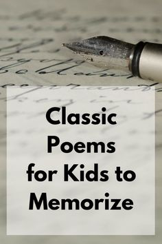 Homeschool poems - Classic Poems for Kids to Memorize – Homeschool poems Poems For Boys, English Poems For Kids, Funny Poems For Kids, Poetry For Kids, Kids Poems, Best Poems For Kids, Preschool Poems, Classic Poems, Poetry Lessons