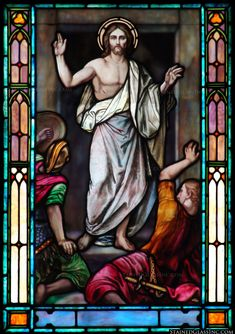 """""""He is Risen"""" Religious Stained Glass Window"""