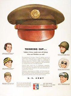 "1950 U.S. Army Recruitement original vintage advertisement. Gorgeous illustration of the U.S. Army Class ""A"" cap & six more hats worn by different divisions. Very rare ad!"