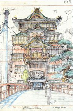 Hayao Miyazaki. Drawing for Spirited Away