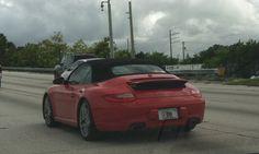 Red cab Porsche