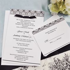 Black and White Damask Wedding Invitations Kit