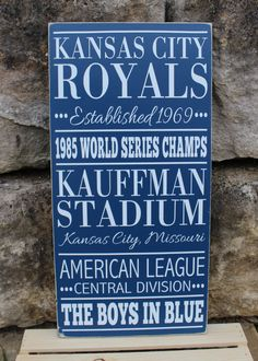 Kansas City Royals Baseball Subway Style Wood by BasementWorkshop1