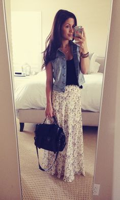 Floral maxi skirt with basic tee and denim vest. Cute for summer!