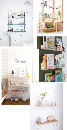 Chambre d'enfant : Comment habiller les murs ? - Blueberry Home Blueberry Home, Etagere Design, Shelves, Home Decor, Nursery Ideas, Hobby Lobby Bedroom, Minimalist Bookshelves, Diy Wall Shelves, Shelving