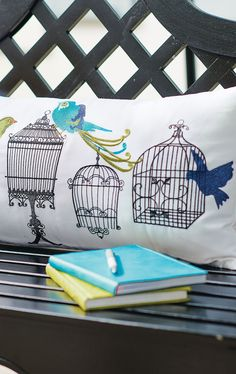 Fade-resistant acrylic embroidery is the reason why our Birdcages Pillow will keep looking bright week after week on your sunny terrace.