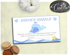 Whale Baby Shower Boy DIAPER RAFFLE insert ticket printable, nautical blue boy shower theme, Digital File Jpg Pdf, instant download - wbl01 #babyshowergames #babyshowerdecorations