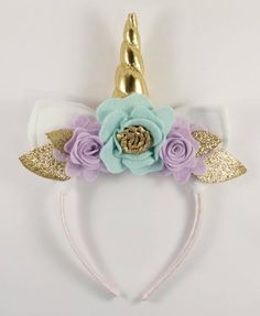 Gold and Lilac Unicorn Floral Crown - Unicorn Horn and Ears Headband - Unicorn Headband by LittleLapins on Etsy 2 Birthday, Unicorn Birthday Parties, Ear Headbands, Crown Headband, Headband Hair, Flower Headbands, Flower Hair, Mint Flowers, Unicorn Costume