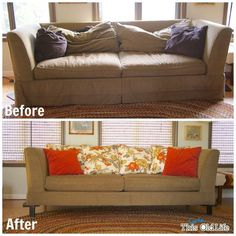 Got rid of the skirt - I like that. Maybe easier option? easy diy save for a tired old sofa, painted furniture, reupholster