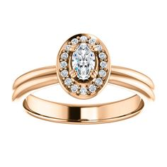 14kt Rose Gold  5x3mm Center Oval Genuine Diamond (Color GHI, Clarity SI2-SI3) and 16 Halo Diamonds (Color G-H, Clarity I3) Ring...(ST71651:629:P).! Price: $1049.99
