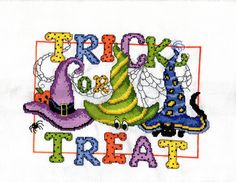 Trick or Treat Designed by Ursula Michael stitched by me Sharleen Bielman