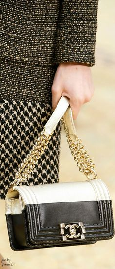 Chanel | Fall 2015 | Calfskin and goatskin two-tone boy Chanel flap bag with tone on tone enamel clasp