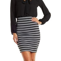Charlotte Russe Black Combo Ribbed Pencil Skirt by Charlotte Russe at... ($20) ❤ liked on Polyvore featuring skirts, black combo, charlotte russe, body con skirt, black pencil skirt, black skirt and charlotte russe skirts