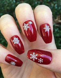 50+ Best Stunning Red Nails Inspirational Designs For Prom And Wedding - Page 44 of 50 - Coco Night Square Nail Designs, Christmas Nail Art Designs, Winter Nail Designs, Xmas Nails, Holiday Nails, Christmas Nails, Simple Christmas, Red Christmas, Valentine Nails