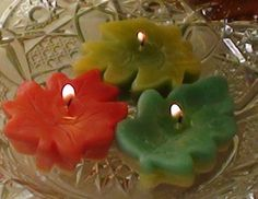 Mixed fall leaves floating candles set of 12 by GlowliteCandles, $10.00