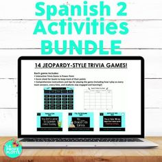 If you teach Spanish 2, you NEED this bundle of 80  engaging and fun activities! In it, you will find 18 task card sets, 19 digital task card sets (Boom Cards), 4 conversation card sets, 14 fun Jeopardy-style trivia games, 14 Cucharas (Spoons) games, 6 Pesca (Go Fish) games, 4 easy-to-grade quizzes, and 3 hands-on sentence building activities. Perfect for supplementing your lessons. We are talking hundreds and hundreds of hours of engagement and fun for your Spanish 2 classes! #spanish #spanish2