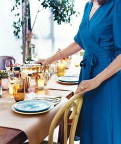 Parchment paper, brown mailing paper, or the roll from a child's easel makes a casual place mat for two when draped across a table. And when the meal is over, cleanup is a snap.