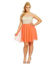 Jodi Kristopher Plus Strapless Lace Bodice Party Dress   Dillard's Mobile