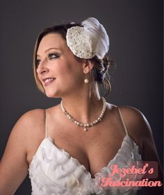 Alabaster-Bridal Wedding Headpiece White by JezebelsFascination