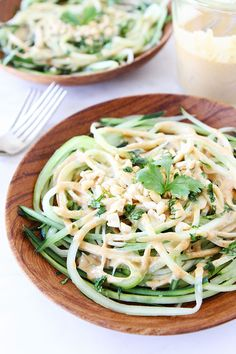 Cucumber Noodles with Peanut Sauce Recipe on twopeasandtheirpod.com