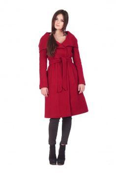 Красное пальто до колен с капюшоном