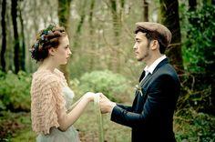 Traditional Irish bride and groom