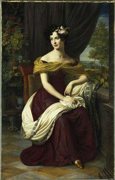 ▴ Artistic Accessories ▴ clothes, jewelry, hats in art - Friedrich Wilhelm Schadow | Portrait of Fanny Ebers, c.1827(