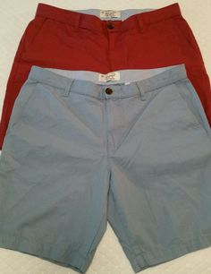 Lot of 2 Mens Casual PENGUIN Shorts Red & Blue Sz.36 Flat Front Straight Fit