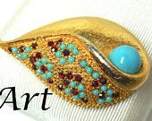 Vintage ART signed Brooch Gold Turquoise and Red Rhinestones Shell Fine Costume Jewelry