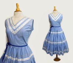 Vintage 50s Mexican Dress 1950s Patio Dress Squaw Dress L Cornflower Blue