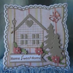 ink'n'rubba Home Sweet Home card with Marianne Design die cuts and papers by Nitwits. Diy Christmas Cards, Xmas Cards, Christmas Crafts, Marianne Design Cards, New Home Cards, Welcome Card, 3d Cards, Scrapbook Cards, Scrapbooking