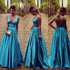 Deep V-neck Backless High Waist Party Dress