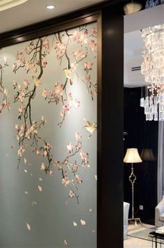 It's the first time I've seen chinoiserie wallpaper that ha… Interesting. It's the first time I've seen chinoiserie wallpaper that has a design that comes from the top down, rather than the opposite Living Room Partition Design, Room Partition Designs, Glass Partition Wall, Chinoiserie Wallpaper, Interior Wallpaper, Wallpaper Designs, Bedroom Wallpaper, Wallpaper Ideas, Wall Wallpaper