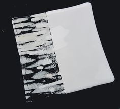 """Snow fall effect, white and clear glass and frit combined into 8"""" square."""