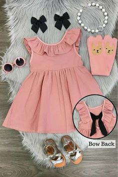 Kids Dress Wear, Little Girl Dresses, Girls Dresses, Baby Dresses, Fancy Dress, Pink Dress, Girls Fashion Clothes, Baby Girl Fashion, Kids Fashion