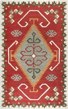 Rizzy Mesa Red Area Rug – Incredible Rugs and Decor Earthy Style, Woodland Christmas, Tribal Patterns, Area Rug Sizes, Jute Rug, Red Rugs, Southwestern Style, Native American Art, Beige Area Rugs