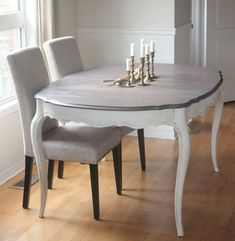 Painted Dining Room Table, Dinning Room Tables, Dining Room Design, Painting Dining Tables, Refinished Dining Tables, Grey Dining Rooms, Dining Chairs, Dining Set, French Dining Tables