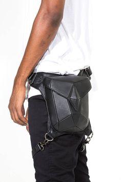 METRIC RAVEN Black Leather Holster Shoulder Backpack and Hip