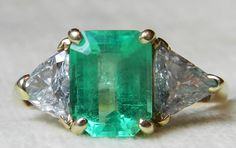 Emerald Ring 2.5 Carat Columbian Emerald Ring Unique Engagement Ring Vintage 14K Diamond Emerald May Birthday by LoveAlwaysGalicia on Etsy https://www.etsy.com/listing/247863794/emerald-ring-25-carat-columbian-emerald