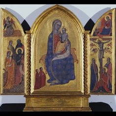 Jacopo di Cione -   Madonna and Child; Annunciation; Crucifixion and Saints (Elizabeth of Hungary, Anthony the Abbott, Catherine of Alexandria, John the Baptist)