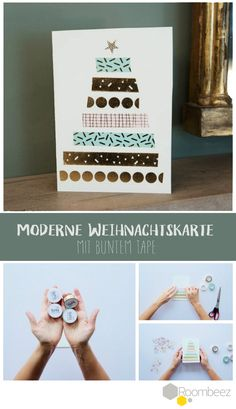 Hier ein schönes DIY für eine moderne Weihnachtskarte! Wir lieben die unterschiedlich farbigen Tapes ★ Weitere Weihnachtskarten-Ideen findet Ihr auf Roombeez!